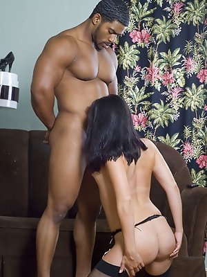 Wild brunette beauty craves big black tool and gets creampie